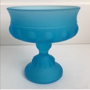 Indiana Glass King's Crown Compote Blue Satin Mist